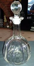 Vintage Panelled Bell Shaped Glass Decanter with Ground Glass Stopper/Rim 27cm T