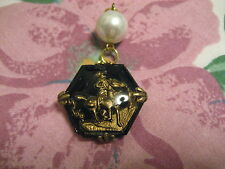 Reverse carved & painted COWBOY and COW PONY HORSE vintage intaglio glass charm
