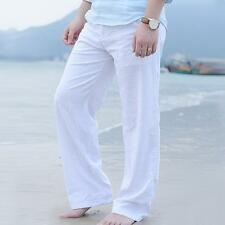 Men Beach Pants Slacks Trousers Sweatpants Cotton Linen Loose Fit Pants New @