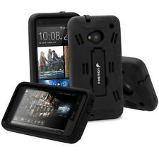 For HTC One M7 Rugged Hybrid Impact Skin Hard Soft Stand Case Cover -Black/Black