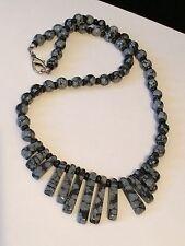 Black & Gray Semi precious Stone Mini Bib Statement Necklace #V5