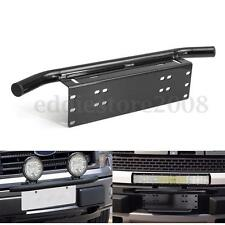 Bull Bar Front Bumper License Plate Mount Black Bracket Holder Light Bar Offroad