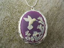 STUNNING HUMMINGBIRD (THINK SUMMER) CAMEO LOCKET!!! WEDDING!! QUALITY, PURPLE