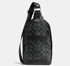 NEW COACH MEN'S SIGNATURE PVC CHARLES PACK/ SLING BACKPACK BLACK/CHARCOAL F54787