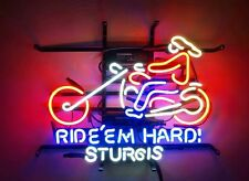 "Ride'em Hard! Sturgis Motorcycles Open Man Cave Neon Light Sign 19""x15"""