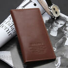 Mens Long Casual Leather Wallet Pockets Card Clutch Cente Bifold Purse coffee