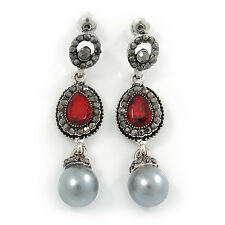 Marcasite Red/ Grey Crystal Pearl Drop Earrings In Antique Silver Tone - 45mm L