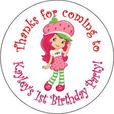 12 strawberry shortcake stickers Birthday Party loot bag 2.5 Inch Personalized