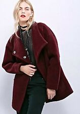 Free People Coat eggplant  Boiled Wool heavy oversized funnel neck XS $298
