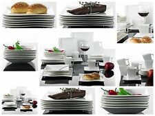 30PC Complete Dinner Set Square Plates Bowls Cups Saucer Dish Ceramic Dining Set