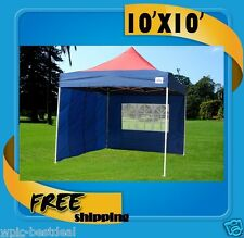 10'x10' Pop Up Canopy Party Tent EZ - Navy Blue / Red - F Model Upgraded Frame