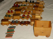 "Wooden 34"" Toy Train Play Set  Wood Amish 126in long"