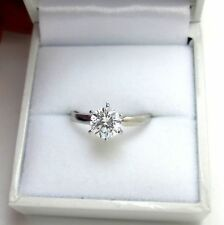 1.00 ct Round Brilliant cut Solitaire Engagement Ring Real 14k Solid White Gold