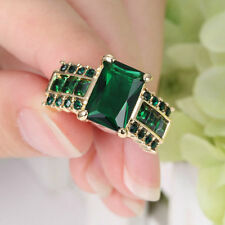 Green Emerald CZ Band Women's 10Kt Yellow Gold Filled Engagement Ring Size 7
