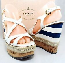 Auth $890 PRADA Striped Cork Espadrille Wedge Platform Sandal Womens Shoes 41 11