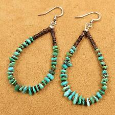 Native American Santo Domingo Turquoise Heishi Beads Hoop 925 Silver Earrings