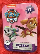 "Paw Patrol Skye & Everest PUZZLE In COLLECTIBLE TIN PUZZLE IS 24PC 5x7"" Travel"