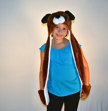 PLUSH FLUFFY BROWN DOG ANIMAL HAT WITH LONG PAWS