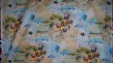 Tropical Dream Vacation Pacific Island Boat Tour Fabric 1/4 yd 22.8 cm off bolt