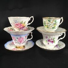 Lot Of 4 Royal Albert China Tea Cups Saucers Floral 4375 White Dogwood Teacup