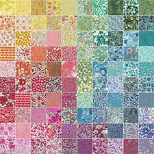 "*100 Liberty Tana lawn fabric 2.5"" Patchwork Charm Squares* - RAINBOW"