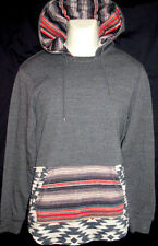 MENS ON THE BYAS DARK GRAY CHARCOAL GEO TRIBAL HOODIE SWEATSHIRT SIZE M