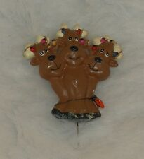 Holiday Three Reindeers Pin wrapped in Christmas Lights Ceramic Glitter Brooch 2