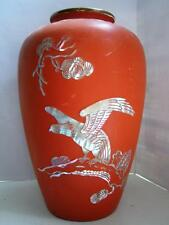 Vintage Korean red lacquer & abalone shell vase copper bodied C1950s