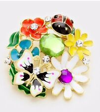 SPRING BUTTERFLY LADY BUG FLOWERS COLLAGE MULTI COLOR  RHINESTONE BROOCH