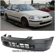 For 96-98 Honda Civic EK SIR Front Bumper Cover JDM Black Conversion W/ Molding