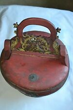 Large Antique Chinese Asian Carved Wood Wooden Rice Bucket Pail Basket c1860