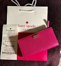 NWT$119 Kate Spade Stacy Laurel Way Saffiano Leather Wallet In Hot Pink