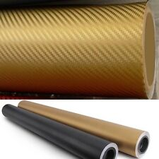 "12"" x 60"" GOLD Carbon Fiber Vinyl Film Wrap 3D Bubble Free Air Release 1ftx5ft"
