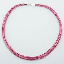 Choker necklace pink cotton 925 silver polished clasps with 12 woven strands new