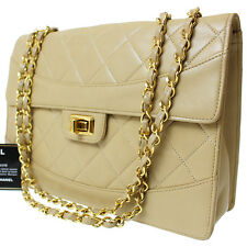 CHANEL Matelasse Quilted Chain Shoulder Bag Beige Leather Vintage Auth #8444 M