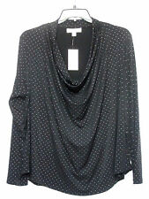 NWT Michael Kors Woman 3X Black Knit Top Cowl Neck Silver Studded Holiday Party