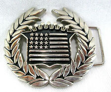 "Famous Stars & Straps Caddy Logo USA Flag Silver-tone Belt Buckle 3.5""w x 3.25""t"