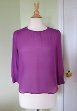 J.CREW Purple Blouse Silk Ruched Sample Back Buttons SMALL S 3/4 sleeve Flowy