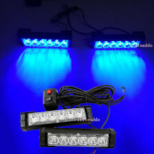 "Blue 2x 6.6"" LED Emergency Vehicle Car Strobe Flash Lights Front Grille Truck"