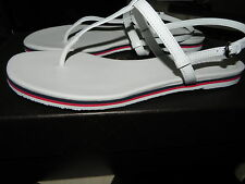$385 Gucci New BALI Web Stripe White Leather Flat Thong Sandal Flip Flop 37.5- 7