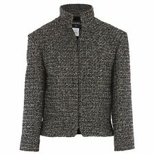 12 A $4585! NEW CHANEL BLACK WHITE FANTASY TWEED w gold SUIT FITTED JACKET 40