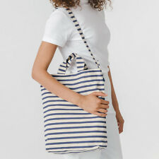Classic BAGGU Duck Canvas Tote bag White Natural Navy Sailor Stripes NEW w/ TAG