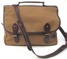 POLO RALPH LAUREN TAN CANVAS LEATHER MESSENGER SHOULDER BAG