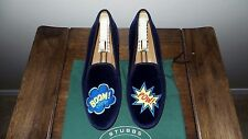 "CUTE! $450 Stubbs and Wootton J.CREW Velvet ""BOOM! POW!"" Slippers Loafers Shoe"
