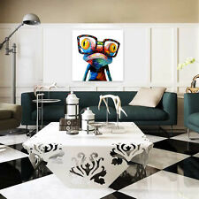 Modern Abstract Huge Wall Art Oil Painting on Canvas Frog Wearing Glasses Decor