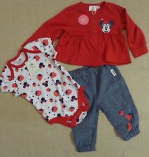 Disney Minnie Mouse 3pc Trouser Set -Girls Baby Cardy/Body Suit NEW ~6-9 months