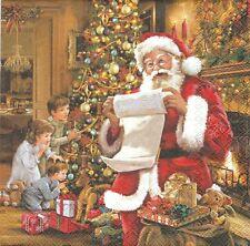 2 Serviettes en papier Père Noël Liste Decoupage Paper Napkins Christmas Eve