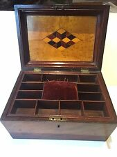 Antique 19th century Tunbridge Ware & Rosewood jewellery/sewing box