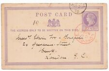 * 1875 RED LONDON CDS CANCELLING ½d POSTAL STAT CARD HOUSE RENT 2 GUINEAS A WEEK