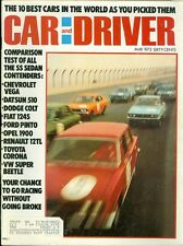 1972 Car & Driver Magazine: 10 Best Cars in the World/Chevy Vega/Datsun 510/Colt